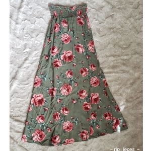 4 for $25 olive green floral maxi boho skirt